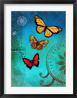 Framed Fluorescent Blue Butterfly