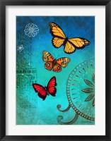 Fluorescent Blue Butterfly Framed Print