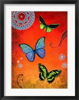 Fluorescent Green and Blue Butterflies Framed Print
