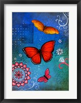 Framed Fluorescent Pink Butterfly