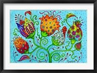Framed Mosaic Flowers-Indian Blue