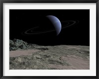 Framed Illustration of the Gas Giant Neptune as seen from the Surface of its Moon Triton
