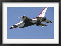Framed US Air Force F-16 Thunderbird Jet in Flight over Belgium