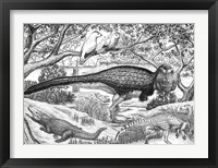 Framed Black ink Drawing of Extinct Animals From the Hell Creek Formation