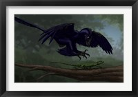 Framed Microraptor Hunting a Small Lizard on a Tree Branch