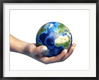 Framed Human Hand Holding Planet Earth