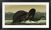 Framed Spinosaurus Catches a Young Stomatosuchus