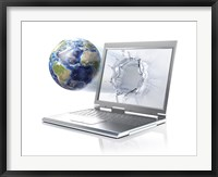 Framed Planet Earth Globe Coming Out From a Laptop Computer
