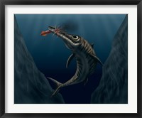 Framed Ophthalmosaurus Catches a Squid in the Deep Sea