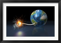 Framed Earth Globe with a Fuse Lighted up as a Time Bomb