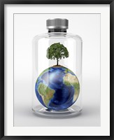 Framed Planet Earth with a Tree on Top, inside a Glass Bottle