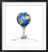 Framed Golf Ball with the Texture of Planet Earth Placed on a Tee