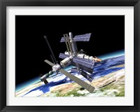 Framed Space Station in Orbit Around Earth