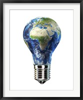 Framed Light Bulb with Planet Earth inside Glass, Africa and Europe view