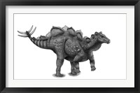 Framed Pencil Drawing of Wuerhosaurus Homheni Standing on its Hind Legs