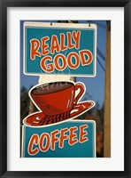 Framed Coffee Sign on Vancouver Island, British Columbia, Canada