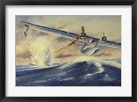 Framed Damaged PBY Catalina Aircraft after the Attack and Sinking of a German U-boat