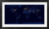 Framed Flat Map of Earth Showing City Lights of the World at Night