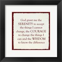 Framed Serenity Prayer - red frame