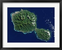 Framed Satellite View of Tahiti