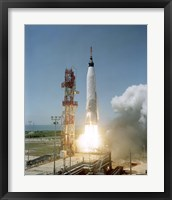 Framed View of the Mercury-Atlas 3 liftoff from Cape Canaveral, Florida