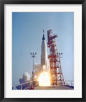 Framed Mercury-Atlas 9 lifts off from its Launch Pad at Cape Canaveral, Florida