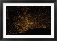 Framed Nighttime image of Portugal Showing City Lights of Porto and Vila de Gaia