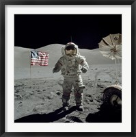 Framed Apollo 17 Astronaut Stands near the American flag on the lunar surface