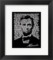 Framed Abraham Lincoln (Gettysburg Address)