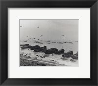 Framed Barrage balloons and shipping at Omaha Beach during the Allied amphibious assault