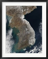 Framed Satellite View of Snowfall Along South Korea's East Coast
