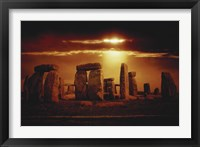 Framed Composite of a Sunset over Stonehenge, Wiltshire, England