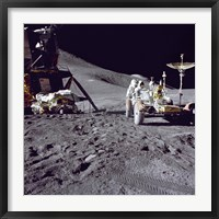Framed Apollo 15 Astronaut Loads the Lunar Rover with Tools and Equipment