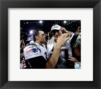 Framed Tom Brady & Rob Gronkowski Celebrate Winning Super Bowl XLIX