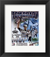 Framed Tom Brady Super Bowl XLIX MVP Portrait Plus