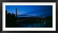 Framed Lions Gate bridge at night, Burrard Inlet, Vancouver, British Columbia
