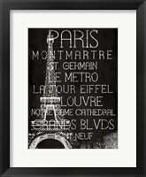 Framed Black & White Paris