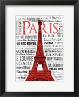 Paris White & Red Framed Print