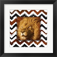 Lion with Chevron Border Framed Print