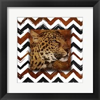 Cheetah with Chevron Border Framed Print