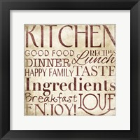Marsala Kitchen Type Framed Print