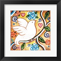 Framed White Bird 2 Square