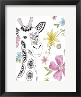 Tribal Giraffe Portrait Framed Print