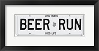 Framed Beer Run License Plate