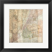 NY Map On Wood Framed Print