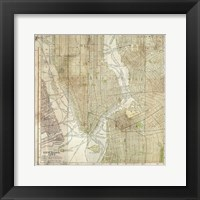 Wooden Map NY Framed Print