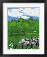 Framed Zebras in the Savanna
