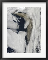 Framed Satellite view of a Thick Plume of Ash rising from the Eyjafjallajokull Volcano