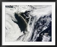 Framed Iceland's Eyjafjallajokull Volcano Emits a Dense Plume of Ash and Steam over the Atlantic Ocean