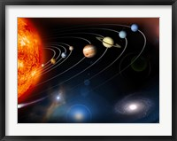Framed Digitally Generated Image of our Solar System and Points Beyond